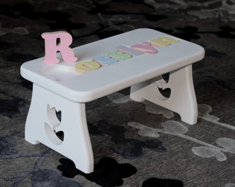 Fine woodworking for home baby special occasions by craftcarve personalized puzzle stool white finish first birthday gift second birthday personalized baby negle Images