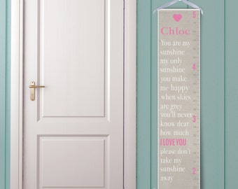 You Are My Sunshine in Taupe - Personalized Children's Growth Chart
