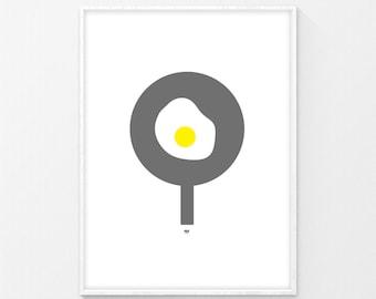 Egg Print, Food Print, Cute Print, Printables, Contemporary Prints, Digital Prints, Contemporary Décor, Wall Art, Modern Print