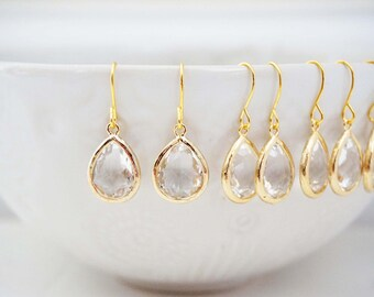 Crystal Teardrop Gem Earrings | Bridesmaid Earrings | Wedding Jewelry  ECG1, ECS1