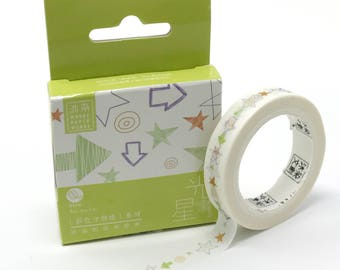 Funky Arrows and Stars Skinny Washi Tape // Multicolored Arrow, Star and Spiral Design Masking Tape // Thin Watercolor Washi Tape // 9mm/7m