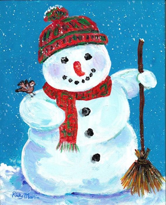 Snowman winter season bird christmas present ready to