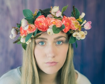 Peach Pink, flower crown, flower headband, Rustic Wedding Headband, Floral crown, photography prop,