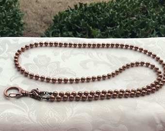 Copper Pearl Bead Lanyard Swarovski Pearl Lanyard Copper Lanyard Necklace ID Badge Holder