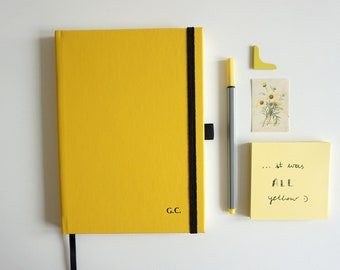 Personalized - Embossed - Blanc Notebook A5 - Ecoleather Yellow Notebook