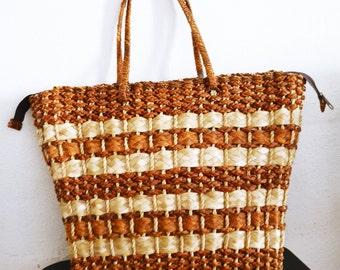Woven Wicker Purse,bag,Tan , Brown, tan, Tote Bag,summer purse,boho bag