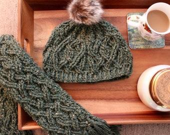 Crochet Hat Pattern, Evergreen Hat Cable Braided Crochet Pattern for Women and Men, Irish Aran Cable Crochet Hat