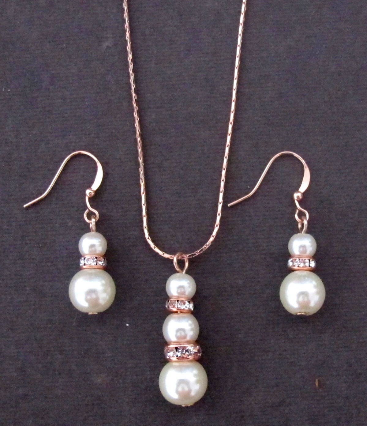 Rose Gold Pearl Jewelry SetPearl and Rose Gold Necklace SetBridal