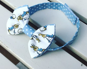 Peter Rabbit Cottontail bow tie for baby boys age 12 months to 6 years with blue details and hook and loop tape fastening