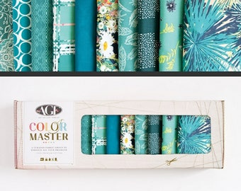 10pc Fat Quarters Bundle Teal Thoughts Art Gallery