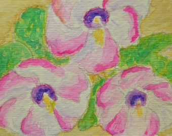 Original ACEO Watercolor Painting - Garden Flowers - Pen and Ink Art