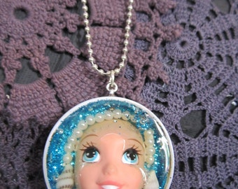 Barbie, Ariel doll,  Altered art. Upcycled barbie. Necklace.