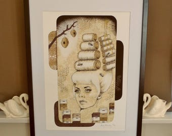 Giclee print by Andy McCready - 'BEEHIVE' - Limited edition, large, bees, honey, yellow, hairdo, rollers. Prints by giltandenvy on Etsy.