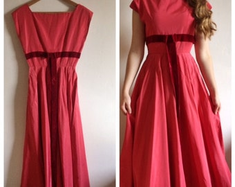 50s floorlength HANDMADE pink gown - dark pink bow - S
