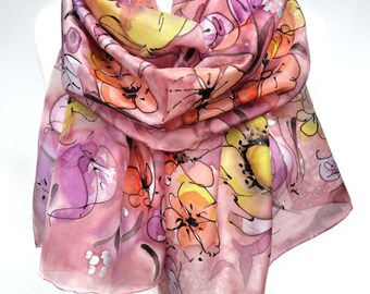 Hand Painted Scarf. Pink Silk Scarf. Floral Scarf. Anniversary Birthday Gift for Her. Genuine Silk Art. Silk Painting. 18x71in MADE to ORDER