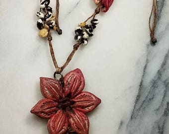 Handmade organic seed necklace. Beans