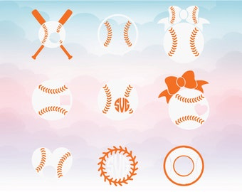 Baseball balls monograms for cutting machines - Baseball clipart in Svg, Dxf, Pdf, Eps, Png file formats for download