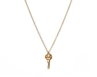 14k Gold Tiny Key Pendant / Necklace