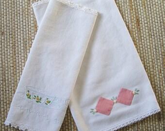 Embroidered Dresser Linens, set of 2