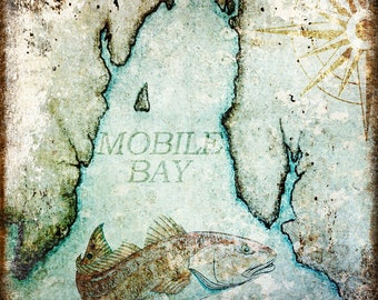 "Mobile Bay // Gulf Shores, Alabama  // Metal Sign // 12"" x 16"""