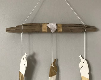 driftwood wall art, gold wall art, driftwood wall hanging, feather, gold wall hanging, rustic home decor, ceramic, wall art, gold
