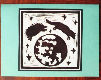 "5 Handmade ""A Fox Tale"" Hedgehog and Fox Jumping Over the Moon Cards (Red or Sage Green)"