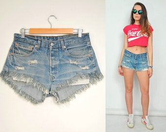 "Vintage Levis 501 High waisted Cutoff denim shorts jeans frayed ripped distressed frwoman 1990's denim L large size 32"" waist US 10"