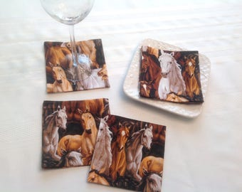 Horses Cocktail Napkins Appetizer Napkins Beverage Napkins - set of 6