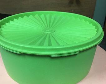 Vintage Green Apple Tupperware Storage Container