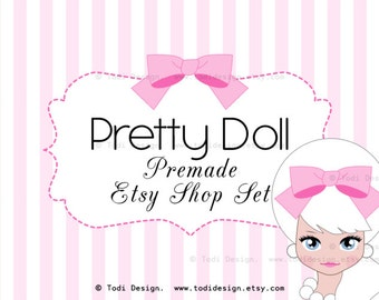 Pretty Doll- Premade Etsy Shop Banner set and business card design