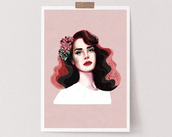 Lana Del Rey Inspired print | llustration art giclée print | music posters,  signed art, wall art, lana del rey print, lana del rey posters,