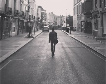 Lonely Girl On Empty Street, Portobello Road, Notting Hill, London Print, Silhouette, City Print, Black And White Photo Print, Unframed