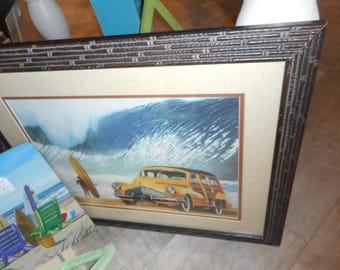Scott Westmoreland Surfer Surf board Woodie Waves Print in Unique  22.5 x 18 Wood Frame Surfboard