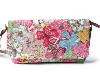 3way Wallet bag, Cross body bag, Travel bag, Shoulder bag,  Liberty of London  Mauvey  (Pink) , Acrylic coating