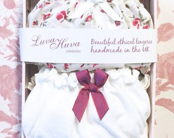 Rose Bud Valentines Panties Gift Box, Organic Cotton Jersey and floral cotton panty. Lingerie gift, wedding favour, knicker pack