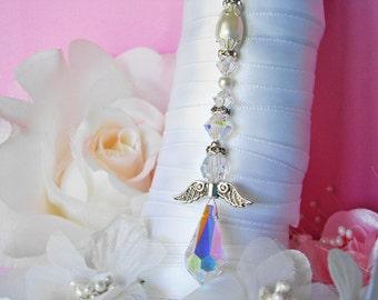 White Wedding Bouquet Charm Swarovski Crystal and Pearl Angel Bridal Bouquet Charm