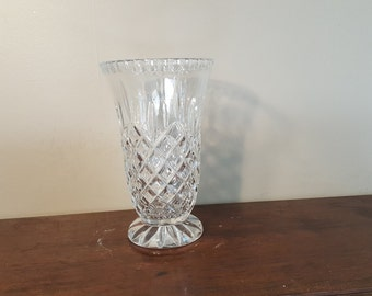 Vintage Cut Crystal Vase, Vintage Crystal Glass Vase, Tall Footed Crystal Vase, Lovely Facets
