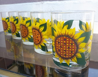 Culver Glasses Sunflowers Set of 5 Double Old Fashioned Size Bright Yellow Flowers Summer Entertaining Fun Made In USA