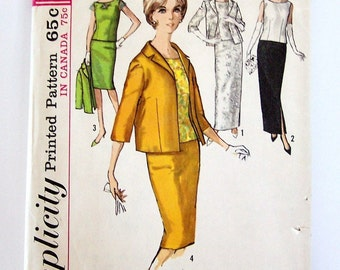 Simplicty 5206 Wiggle Skirt Overblouse Jacket Vintage Sewing Pattern Misses Size 12