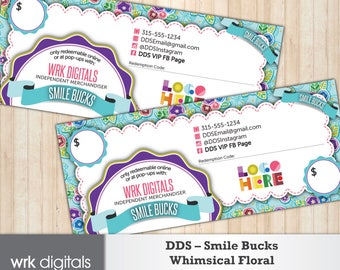 Dot Dot Smile Gift Certificate, Smile Bucks, Whimsical Floral Design, Fashion Consultant, Direct Sales, PRINTABLE