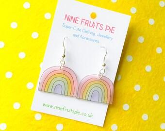 Kawaii April showers medium rainbow earrings in pastel