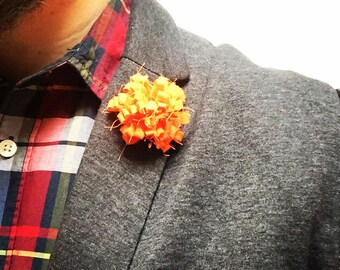 Mens Orange Mens Lapel Pin Flower Wedding Boutonniere Groomsmen Lapel Pin