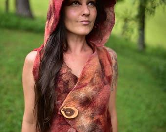Felt Hooded Vest-Hoodie-Pixie Vest-Woodland Costume-Fairy Costume-Nymph Vest-Wool Hoodie-Fantasy Costume-Festival Wear-Felt Vest OOAK
