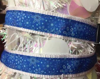 Snowflake Collar, Christmas Dog Collar, Holiday collar, Christmas collar, festive dog collar, fun dog collar, Blue Dog Collar
