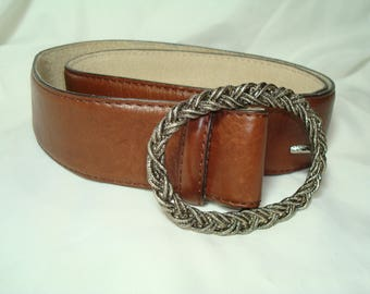 Vintage Liz Claiborne Brown Leather Belt with Antiqued Silver Tone Braided Buckle.