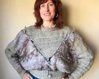 Hand knitted, wool, handspun, comfortable, loose fitting, batwing sleeves, jumper