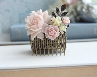 Pink Ivory Wedding Bridal Hair Comb. Vintage Style Pink Rose Ivory Flower Collage Hair Comb. Wedding Hairpiece, Bridal Headpiece