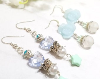 Sailor Moon inspired and Floral earring set of two (Sailor Mercury)