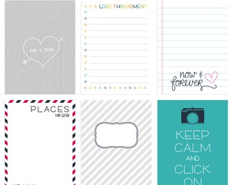 Live Free : Love Life 3 Digital Journal Cards - 3x4 4x6 project life pocket scrapbooking journaling note cards  - instant download - CU OK
