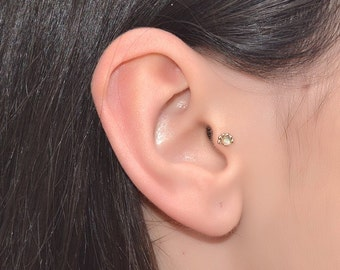 2mm White Opal Tragus Stud Gold 18g / Forward Helix Earring, Cartilage Earring / Nose Stud, Cartilage Stud, Tragus Earring, Nose Ring